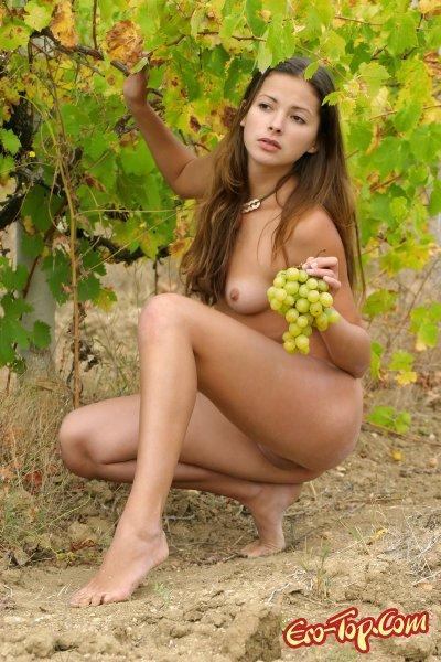 Голая девушка с виноградом. Смотреть фото эротику.
