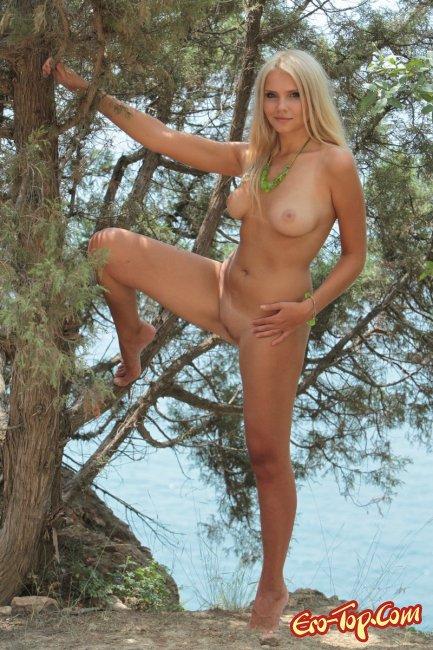 Голая девушка на дереве. Фото.